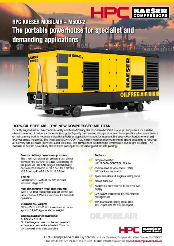 M500-2 Oil Free Portable Compressor Leaflet